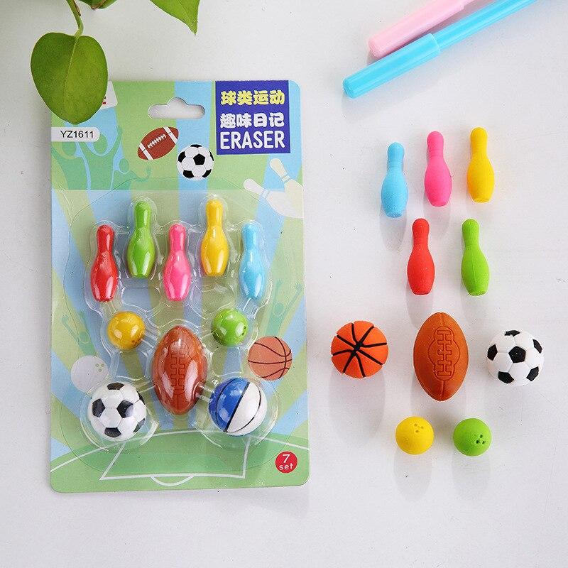 [해외]Cute Mini Erasers Set, Ball Sports Rubber Eraser Toy for Kids, Students School Stationery Promotion Gift Boys/Cute Mini Erasers Set, Ball Sports R