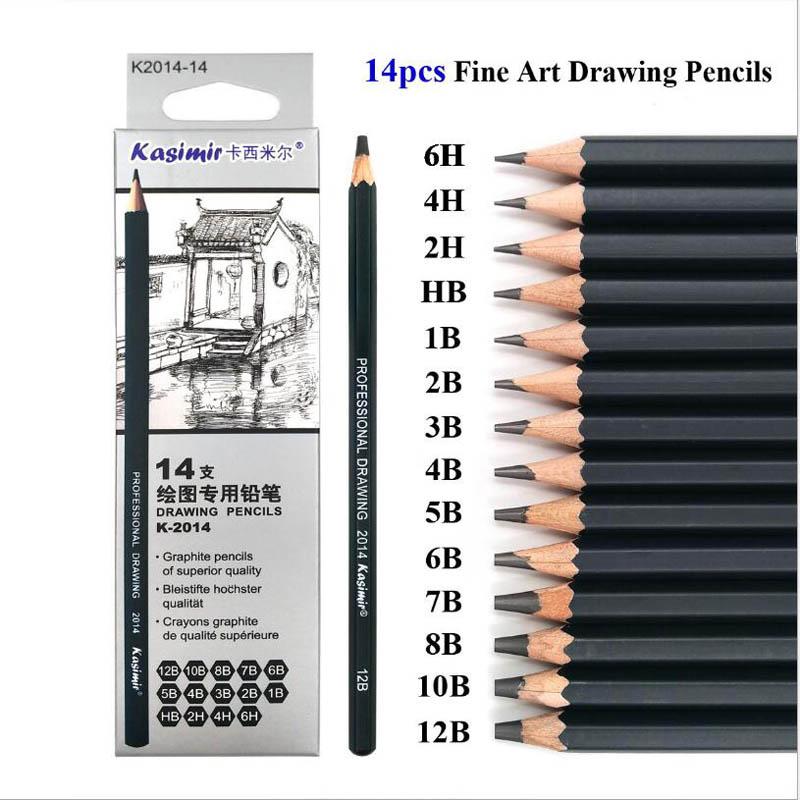 [해외]14PCS / Set 목조 전문 드로잉 연필 세트 미술 용품 ??하드 / 매체 / 소프트 스케치 숯 연필 Art Painting Stationery/14Pcs/Set Wooden Professional Drawing Pencil Set Art Supplies H