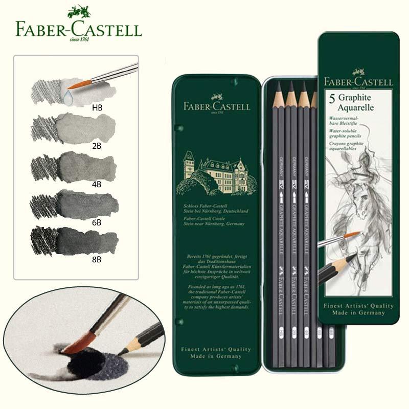[해외]Faber Castel 수용성 연필 흑연 수채화 물감 크레용 연필 틴 박스 스케치 도면 키트 HB 2B 4B 8B/Faber Castel Water soluble Pencil Graphite Aquarelle Watercolour Crayons Pencils S