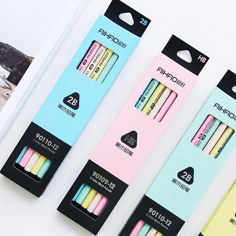 [해외]12 개 / 로트 5 색 검정 & amp; 파스텔 연필 나무 표준 2B 마카롱 연필 그리기 편지지 사무 학교 용품/12 pcs/Lot 5 color black & pastel pencil Wood Standard 2B Macaron pencils