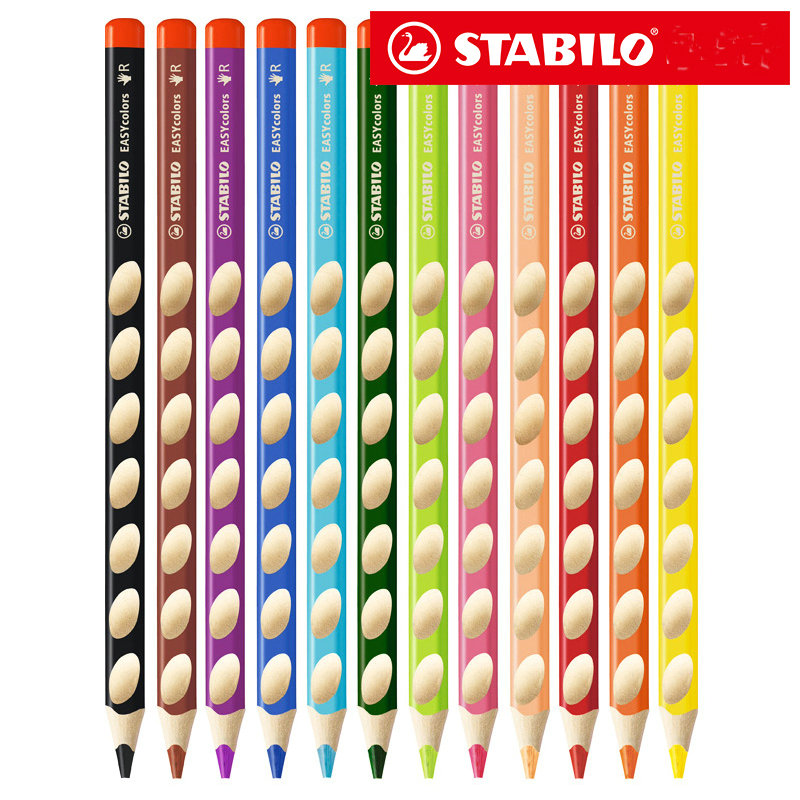 [해외]1Pc Stabilo 332 EASYcolours 인체 공학적 색연필, 오른손잡이 용 10 색 선택 용/1Pc Stabilo 332 EASYcolours Ergonomic Coloring Pencil for Right Handed 10 Colors for Cho