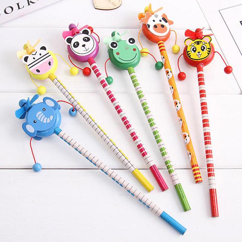 [해외]4 개 참신 카와이 만화 동물 딸꾹질 DrumWindmill 연필 Kid Gift 학생용 학교 사무용품/4 Pcs Novelty Kawaii Cartoon Animals Rattle The DrumWindmill Pencils For Kid Gift Studen
