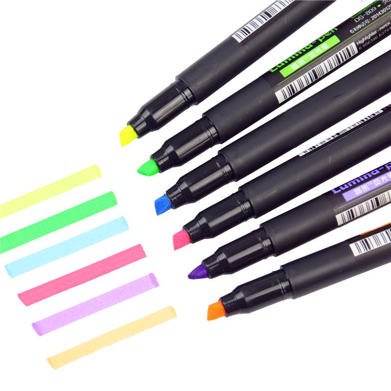 [해외]6 PC / lot 루미나 색상 형광펜 펜 Scrawl 그리기 펜 DIY 마커 펜 편지지 학교 용품 Papelaria/6 Pcs/lot  Lumina Color Highlighter Pen Scrawl Drawing Pen DIY Marker Pen Statio