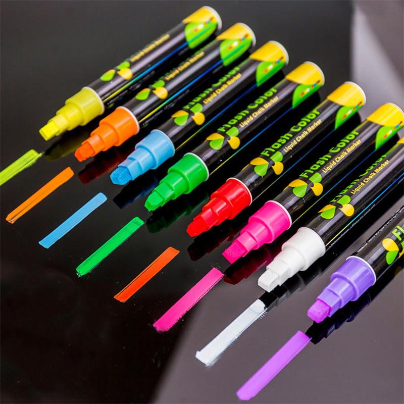 [해외]8 가지 색상 형광 플레이트 형광펜 6mm 펜 분필 마커 펜 유리 빛 칠판 페인팅 학교 미술 선물 문구/8 Colors Fluorescent Plate Highlighter 6mm Pen Chalk Marker Pen Glass Light Blackboard P