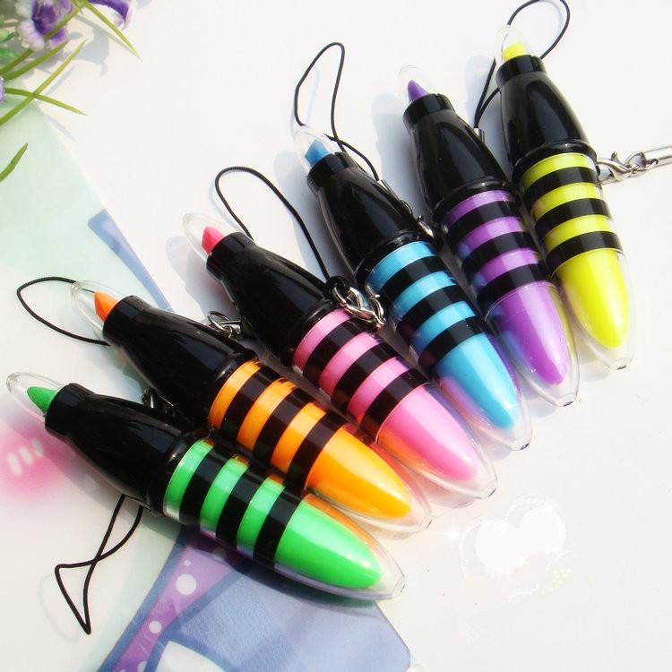 [해외]6PCS 소형 귀여운 꿀벌 형광펜 Penlanyard 소형 감적 펜 Kawaii 문구 용품 학교 용품 문구 용품 선물/6Pcs Mini Cute Bee Highlighter Penlanyard Mini Marker Pens Kawaii Stationery Mat