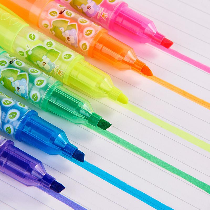 [해외]6PCS 사랑스러운 새로운 Polychromatic 캔디 색깔 형광펜 마커 형광 펜 학생 선물 편지지 학교 용품/6PCS Lovely New Polychromatic Candy Colored Highlighter Markers Fluorescent Pen Stu