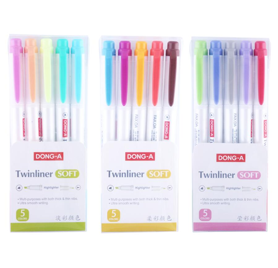 [해외]5pcs / 세트 형광 펜 형광펜 펜 마커 파스텔 소프트 컬러 학생 문구 용품 - 비 얼룩말 mildliner/5pcs /set Fluorescent pen Highlighter pen marker Pastel Soft Color  Student Statione