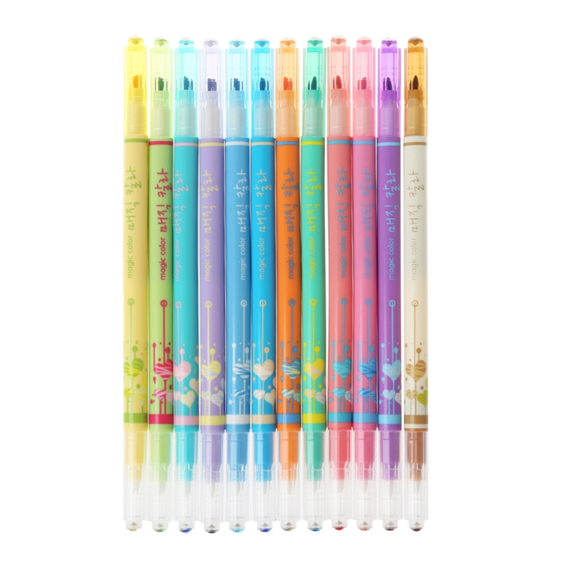 [해외]다이아몬드 형광펜 더블 변경 색상 매직 그래피티 마커 펜 학교 공급/Diamond Highlighter Double Change Color Magic Graffiti Marker Pen School Supply
