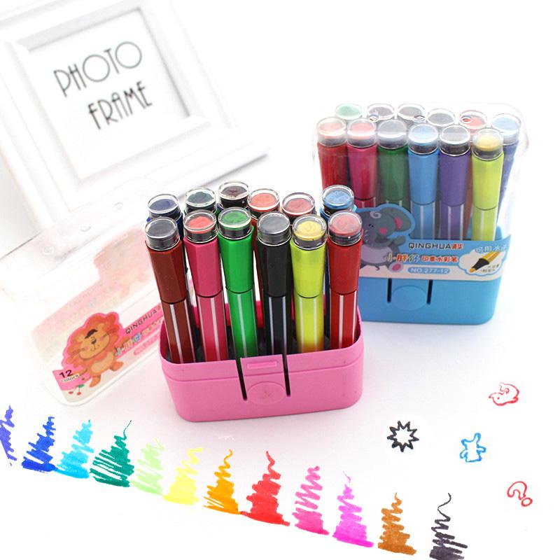 [해외]DIY 미술 용품 ??귀여운 문구 가와이 12 색 수채화 물감 하이라이트 펜 마커 PensStamps 애니메이션 드로잉/Diy Art Supplies Cute Stationery Kawaii 12 Colors Washable Watercolor Highlight