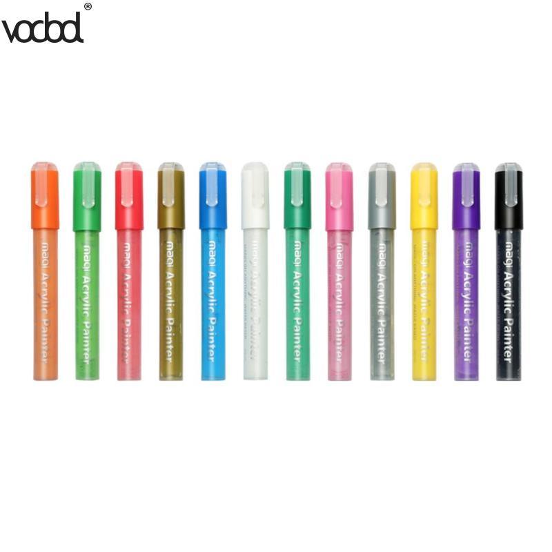 [해외]12pcs 기름 기반 페인트 마커 DIY 스크랩북 낙서 예술 그림 도구에 대 한 다채로운 형광펜 펜 편지지 사무 용품/12pcs Oil-based Paint Markers Colorful Highlighter Pens for DIY Scrapbook Graffi
