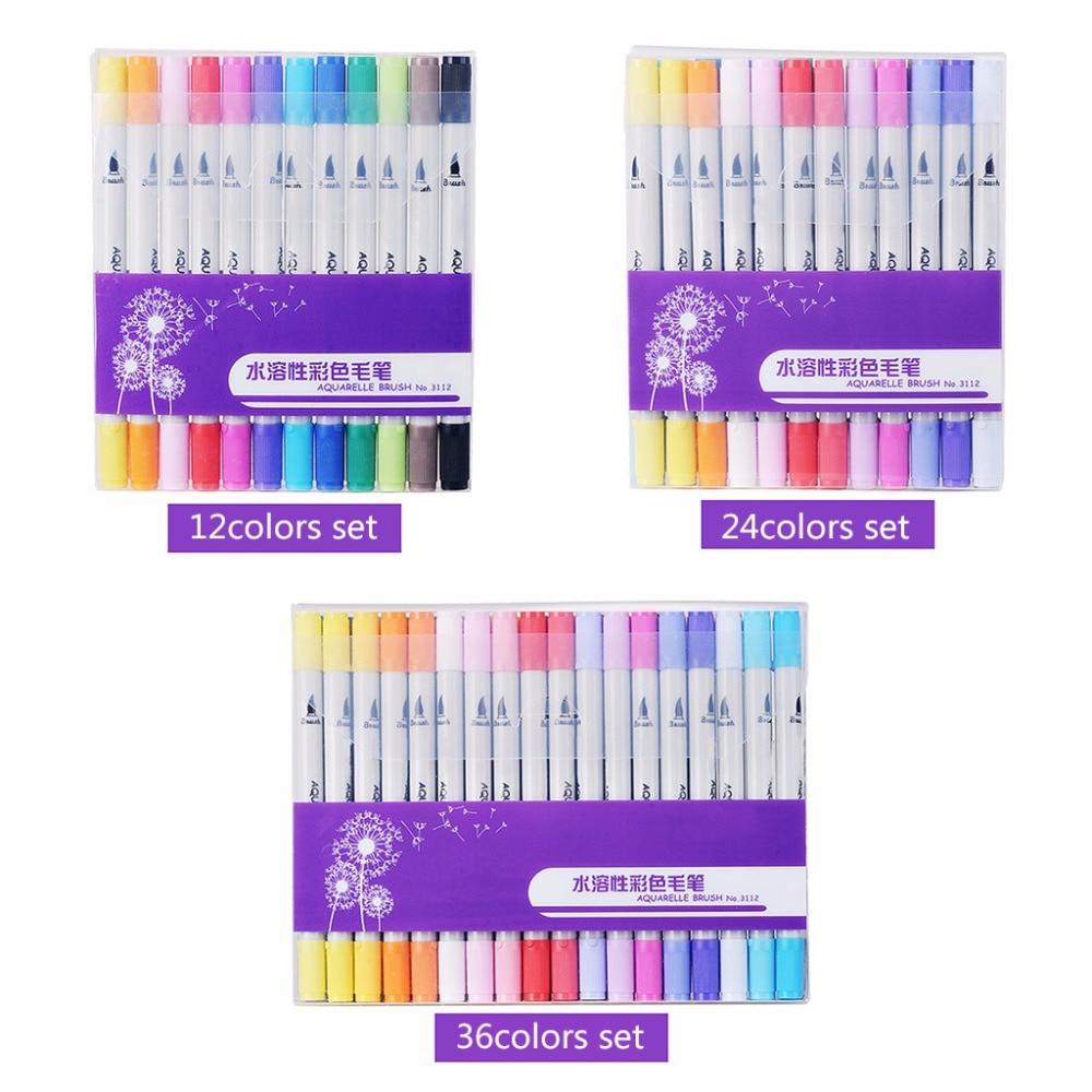 [해외]12/24/36 색상 설정 수채화 브러쉬 펜 더블 머리 아트 마커 편지지에 대 한/12/24/36 Colors Set Watercolors Brush Pen Double Head Art Markers For Stationery