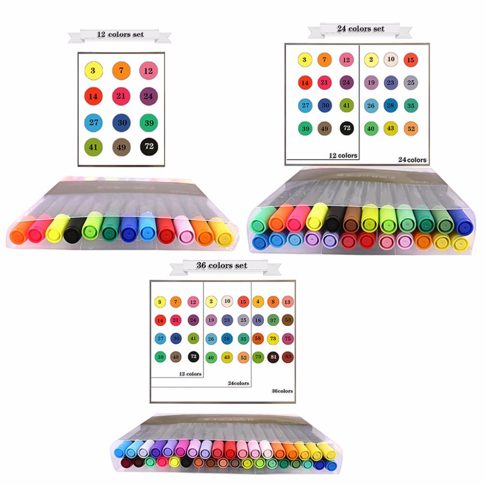 [해외]12/24/36 색 세트 듀얼 팁 수채화 물감 브러시 마커 펜 Fineliner for Stationery/12/24/36 Color Set Dual Tip Watercolor Brush Marker Pen Fineliner For Stationery