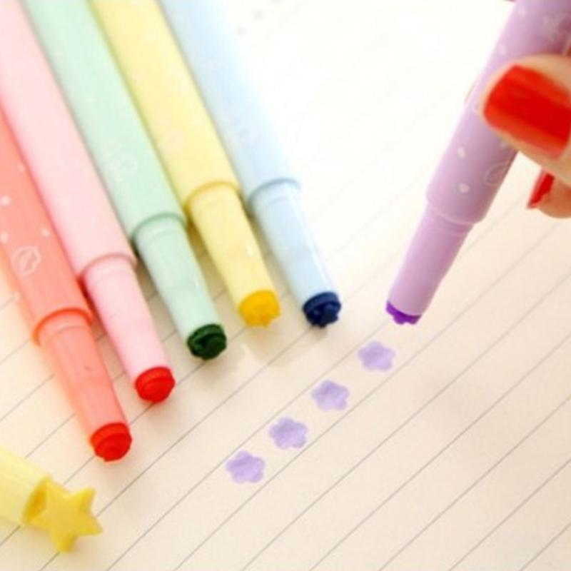 [해외]6Pcs / Lot 귀여운 캔디 컬러 형광펜 잉크 스탬프 펜 마커 펜 학교 용품 사무 용품/6Pcs/Lot Cute Candy Color Highlighters Inks Stamp Pen Marker Pen school Supplies Office Station