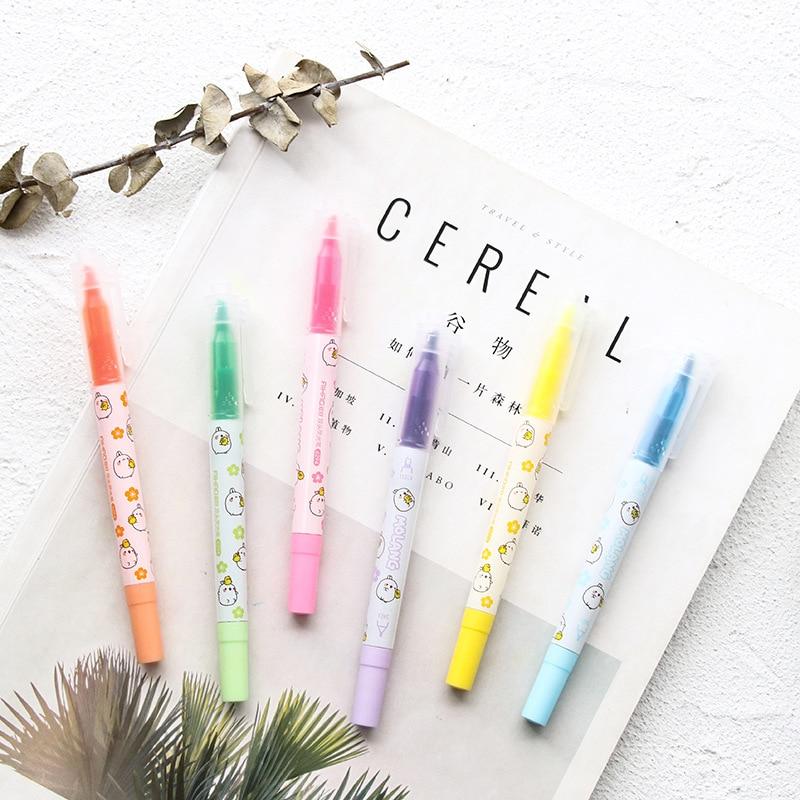 [해외]6 Pcs / set 일본어 펜 가벼운 라이너 더블 향하고 형광 펜 귀여운 아트 형광펜 그리기 마크 펜 편지지 YGB20/6 Pcs/set Japanese Pens Mild liner Double Headed Fluorescent Pen Cute Art High
