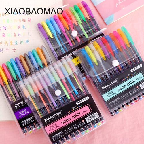 [해외]12 개 연한 색 형광펜 형광등 그리기 용 형광 표식 양면 문구 사무용품 학용품/12 pcs Mild color Highlighter pen Dual-side writing Fluorescent Marker for drawing liner Stationery O