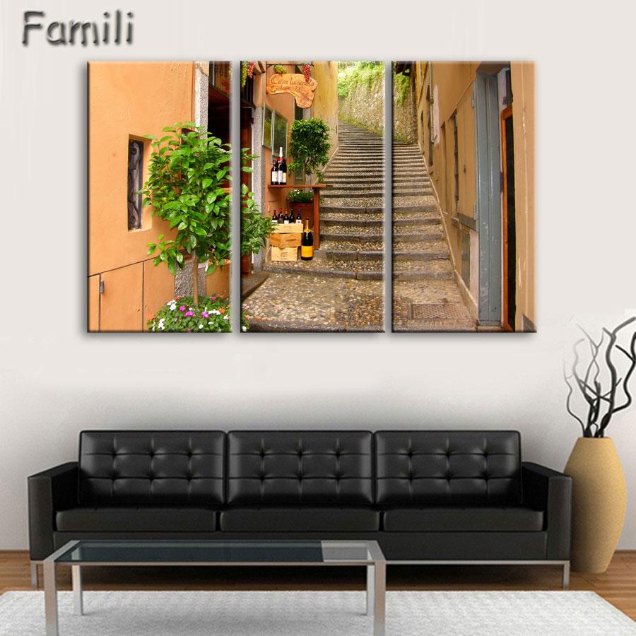 [해외]3Pcs 토스카 나 이탈리아 메도우 꽃 자연 풍경 거실 홈 벽 현대 예술 장식 패브릭 포스터 지문, 캔버스 페인팅/3Pcs Tuscany Italy Meadows flowers nature landscape living room home wall modern a