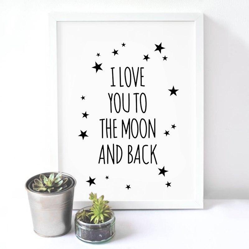 [해외]나는 달에 당신을 사랑하고 등을 맞댄 따옴표 보육 방 장식을Canvas Painting Wall Quote/I love you to the moon and back Quote Canvas Painting Wall Quote For Nursery Room Deco