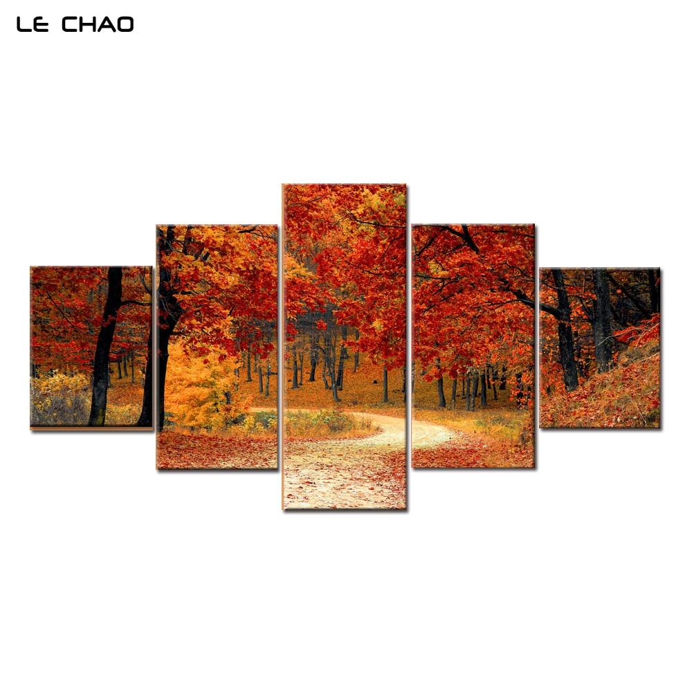 [해외]캔버스 회화 현대 벽 예술 모듈 형 벽화 Art Red Forest Wall 거실 용 포스터 및 인쇄물 풍경/Canvas Painting Modern Wall Art Modular Wall Paintings Art Red Forest Wall Pictures f