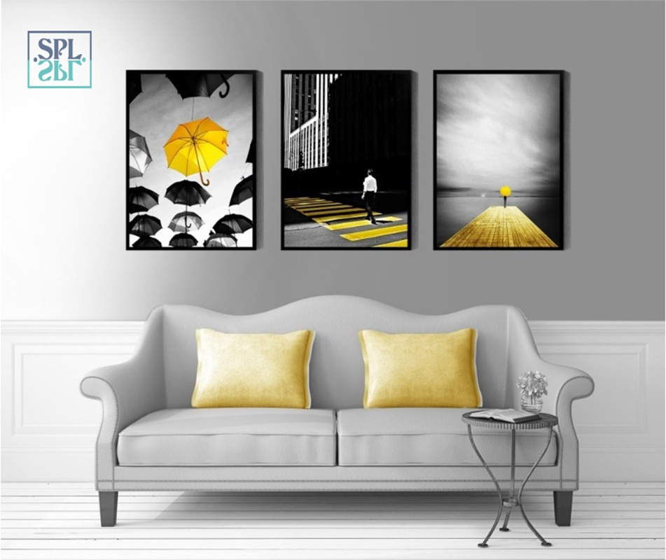 [해외]SPLSPL Frameless 현대 흑백 벽 그림 노란색 우산 홈 장식 캔버스 아트 페인팅 계약 스타일/SPLSPL Frameless Modern Black and White Wall Pictures Yellow Umbrella Home Decoration Ca