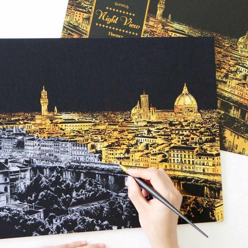[해외]장식 그림 스크래치 긁기 그림 그리기 종이 세계 관광 사진 집 장식 생일 선물/Decorative Painting Scratch Scraping Painting Drawing Paper World Sightseeing Pictures Home Decoration