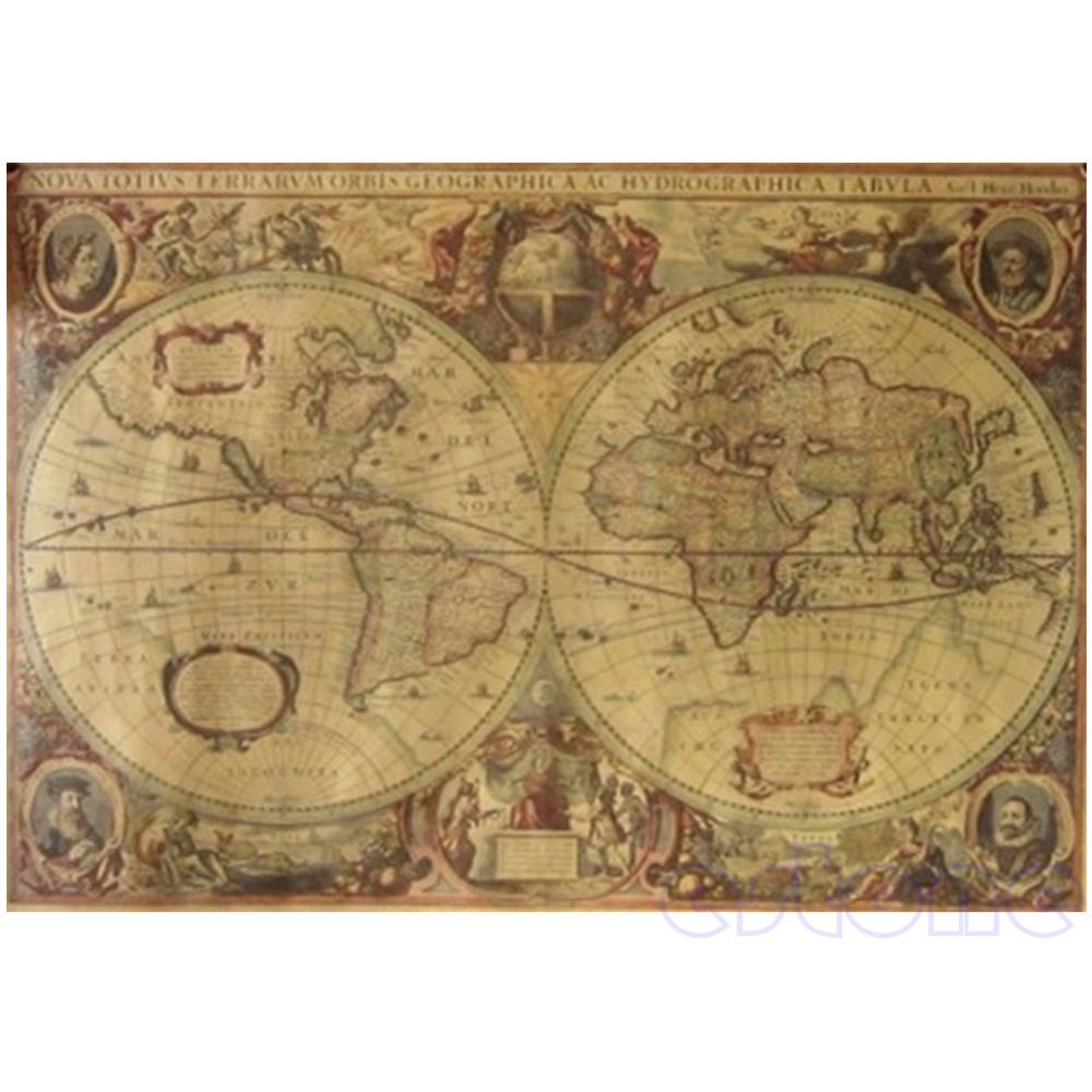 [해외]71x50cm 빈티지 글로브 올드 월드지도 무광택 갈색 종이 포스터 홈 벽 장식/71x50cm Vintage Globe Old World Map Matte Brown Paper Poster Home Wall Decor