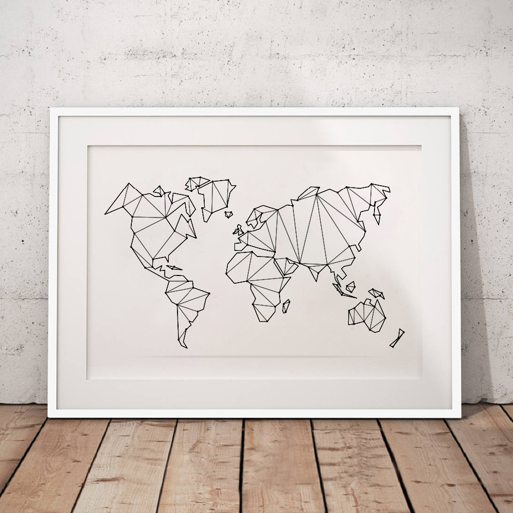 [해외]추상 세계지도 캔버스 아트 인쇄 벽 그림, 기하학 낮은 폴 리지도 세계 포스터 캔버스 회화 홈 장식/Abstract World Map Canvas Art Print Wall Pictures , Geometric Low Poly Map Of World Poster