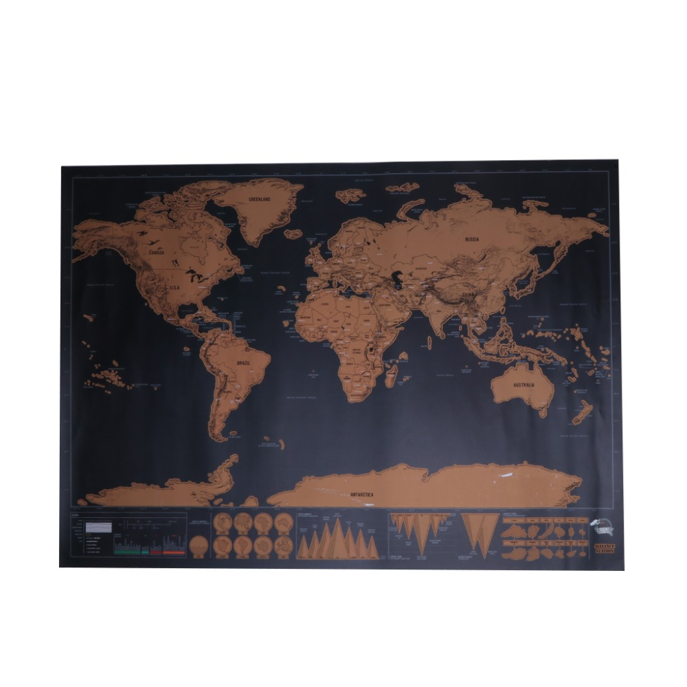 [해외]세계지도 여행 판 디럭스 스크래치지도 개인 포스터 여행 선물/World Map Travel Edition Deluxe Scratch Map Personalized Poster Traveler Gift