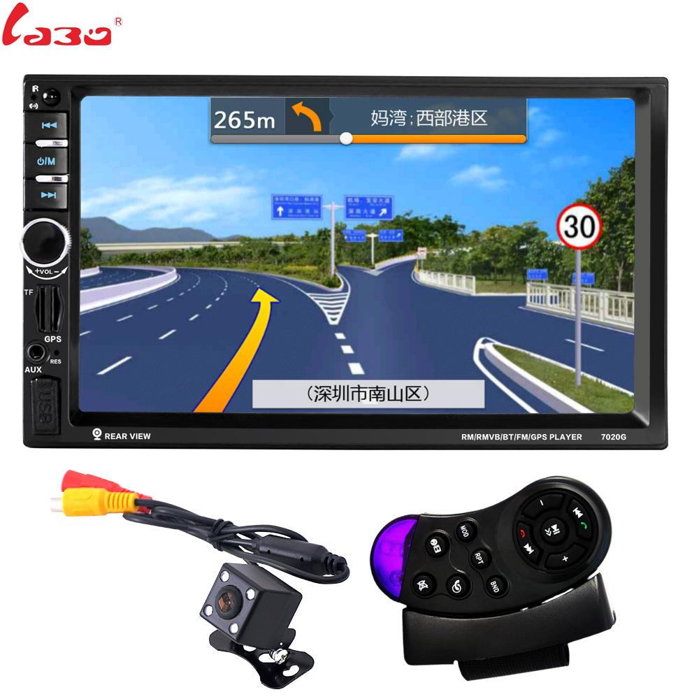 [해외]LaBo 7 && 2 딘 자동차 라디오 멀티미디어 플레이어 GPS 네비게이션 카메라 블루투스 MP4 MP5 스테레오 오디오 자동 스티어링 휠 무료지도/LaBo 7&& 2 Din Car Radio Multimedia Player GPS Navigat