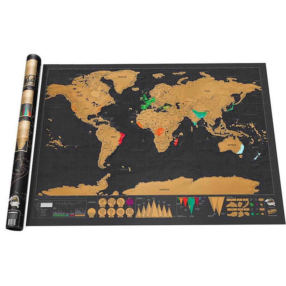 [해외]세계지도 스크래치지도 여행지도 포스터 구리 호일 벽 스티커 맞춤형 저널 로그 작은 크기의 실린더 포장/World Map Scratch Map Travel Map Poster Copper Foil Wall Sticker Personalized Journal Log