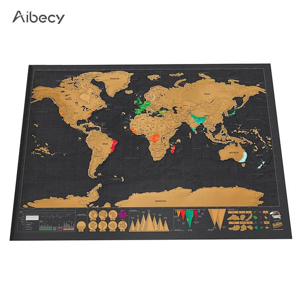 [해외]스크래치지도 세계 여행지도 포스터 구리 호일 벽 스티커 맞춤형 저널 로그 실린더 포장없이 작은 크기/Scratch Map Off World Travel Map Poster Copper Foil Wall Sticker Personalized Journal Log