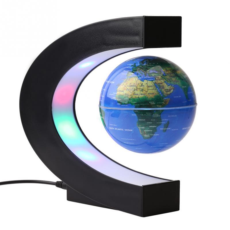 [해외]3 && C 모양 부동 글로브 색깔 LED 자기 부상 월드 글로브지도 지구 사무실 책상 장식 선물 지구/3&& C shape Floating Globe Colored LED Magnetic Levitation World Globe Map Earth