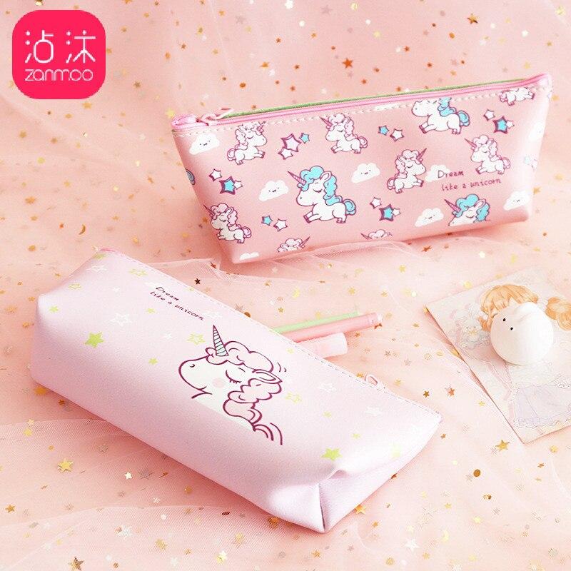 [해외]1Pcs Kawaii Pencil Case Pink Unicorn Canvas Gift Estuches School Pencil Box Pencilcase Pencil Bag School Supplies Stationery/1Pcs Kawaii Pencil Ca