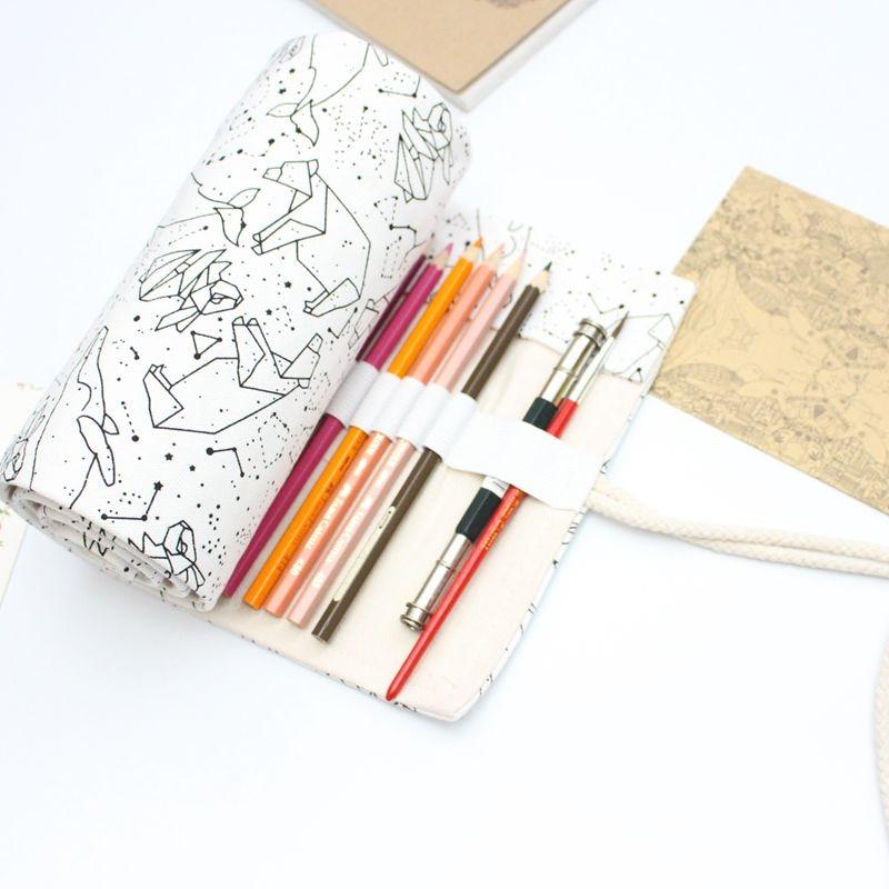 [해외]36/48/72 Holes Big Pencil Case School Canvas Roll Pouch pecncil box Constellation Pencilcase Sketch Brush pen Pencil Bag Tools/36/48/72 Holes Big