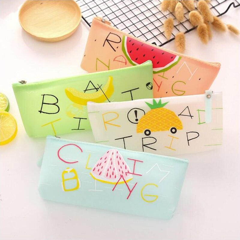 [해외]Jelly color Fruit Pattern Pencil Case Office Stationery and School Supplies High Capacity Plastic Material Pencil Bag 1PCS/Jelly color Fruit Patte