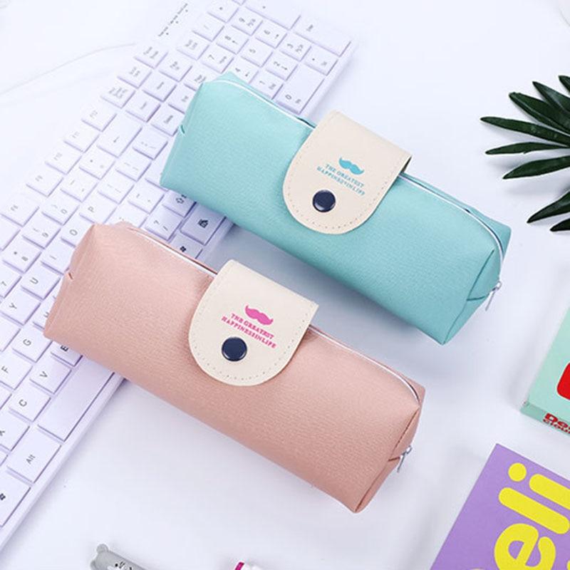 [해외]1pc Plain colour leather pen case fabric pencil bag etui a crayons cuir pencil pouch stifte tasche pencil case school bag 4860/1pc Plain colour le