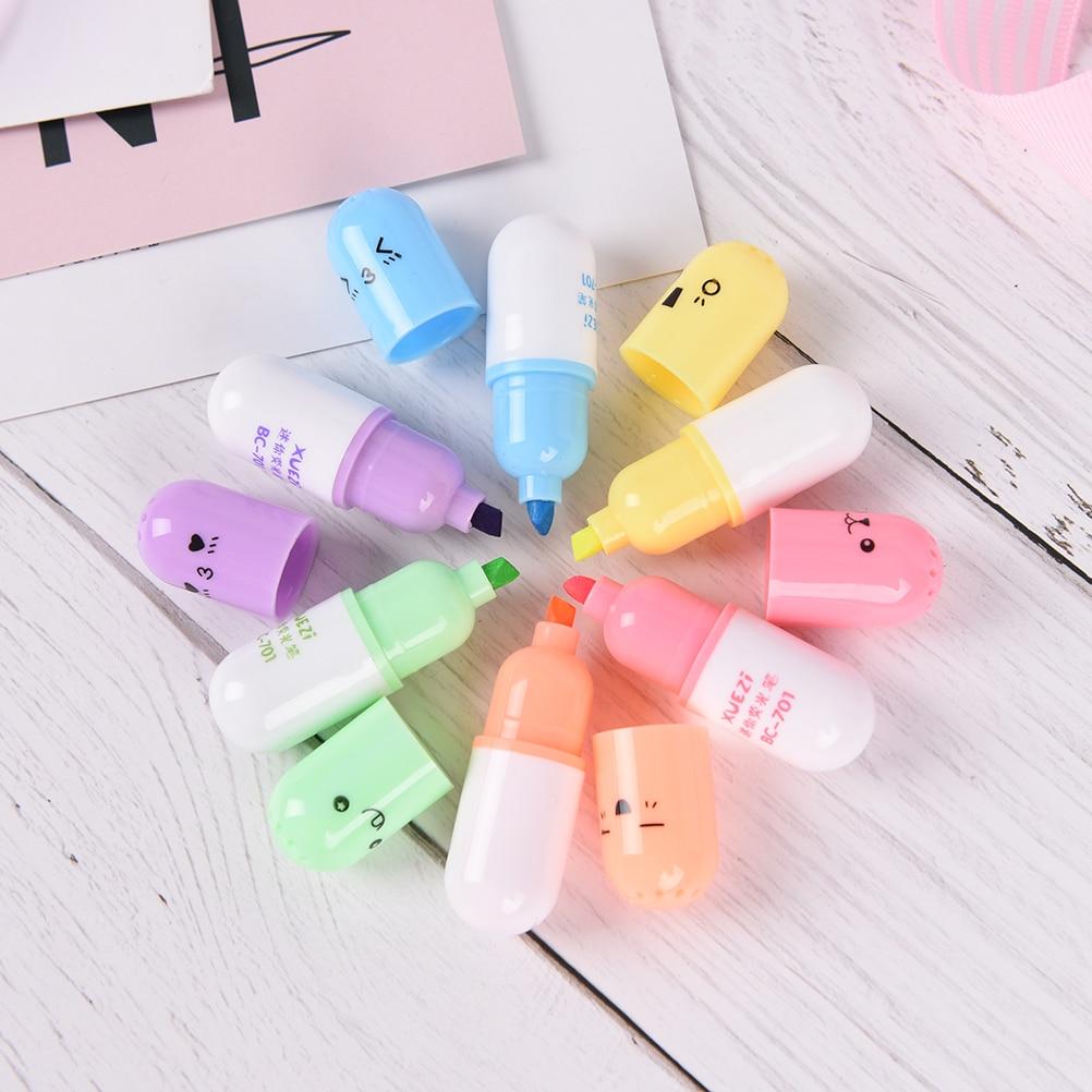 [해외]6 개 세트 / 미니 알약 모양 귀여운 얼굴 낙서 마커 펜 형광펜 펜 한국 문방구 학교 사무용품/6 pcs/set Mini Pill shaped  Cute face Graffiti marker pen highlighter pens Korean stationery