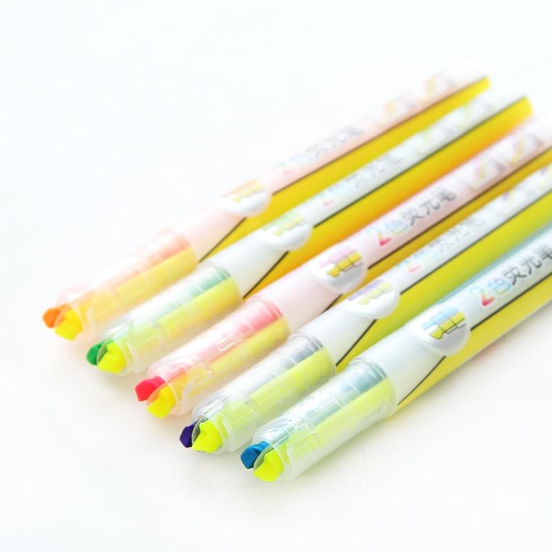 [해외]/5 pcs/Lot Two color in 1 body Highlighter pen Office & School markers for paper copy Stationary material escolar F375