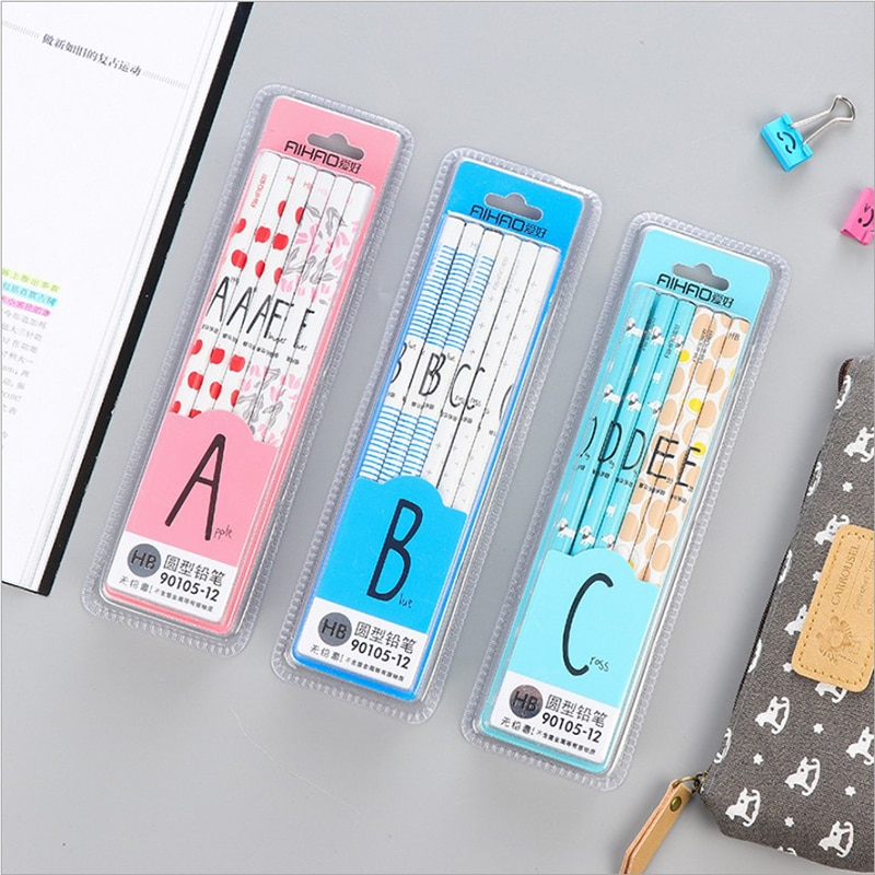 [해외]/12pcs/Lot Roman Letter     Black Lead Alpha     for Creative Cute   Lapis School w48 Wooden HB Pencil