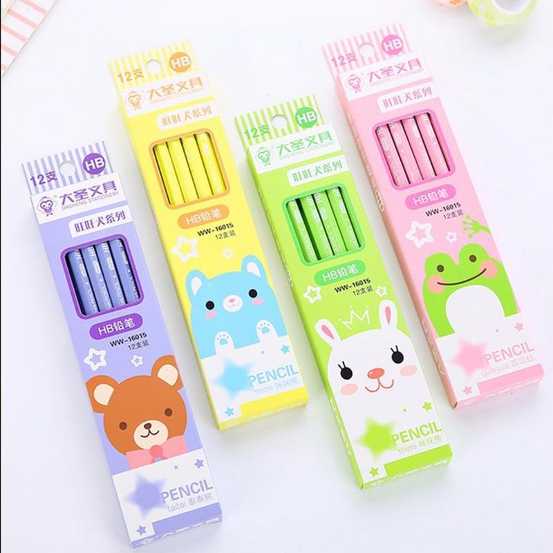[해외]/12pcs/Lot Stationery Office Rabbit    Eraser Creative Cute w17 Sketch Pen w16 Bear Drawing Pen(Color Random) HB Pencil