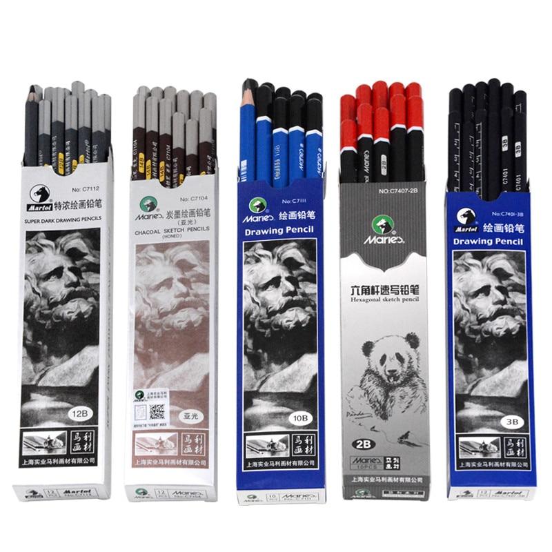 [해외]12 pcs maries 스케치 연필 2b 4b 6b 8b 10b 14b 그림 그리기 연필 크리 에이 티브 연필/12 pcs maries 스케치 연필 2b 4b 6b 8b 10b 14b 그림 그리기 연필 크리 에이 티브 연필