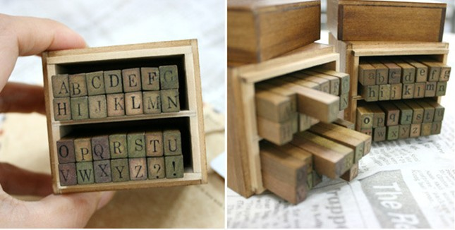 [해외]?나무 우표 알파벳과 문자 밀봉 대문자 소문자 나무 스탬프 / 28 개 세트 골동품 우표 한 세트 가격/ Wooden Stamps AlPhaBet and letters seal uppercase lowercase wooden stamp set/28 pcs ant