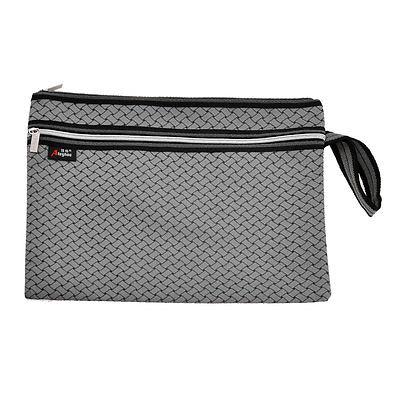 [해외]남자 컴팩트 브레이드 인쇄 두 섹션 지퍼 그레이 파일 포켓 폴더 가방/Man Compact Braid Printed Two Sections Zip up Gray File Pocket Folder Bag