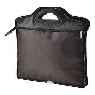 [해외]컴팩트 한 질감의 2 섹션 지퍼가 달린 브라운 회의 파일 포켓 가방 파우치/Compact Textured 2 Sections Zippered Brown Conference File Pocket Bag Pouch