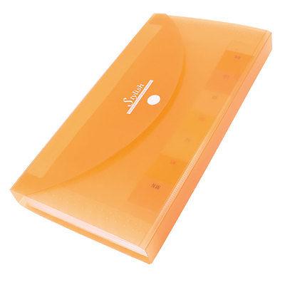 [해외]버튼 폐쇄 13 포켓 플라스틱 커버 빌 Ducument 파일 폴더 지우기 오렌지/Button Closure 13 Pocket Plastic Cover Bill Ducument File Folder Clear Orange