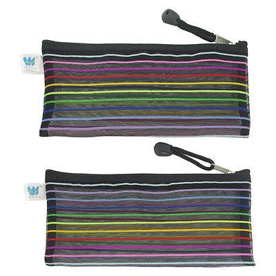 [해외]블랙 Meshy 디자인 우편 폐쇄 나일론 파일 가방 홀더 2pcs/Black Meshy Design Zip Closure Nylon File Bag Holder 2pcs