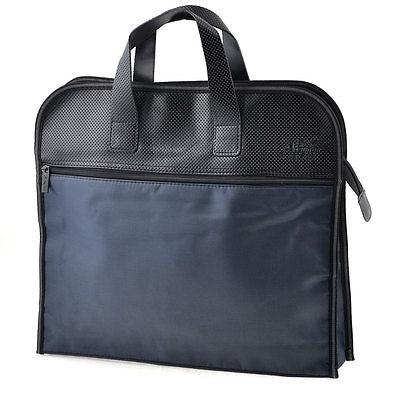 [해외]컴팩트 다크 블루 지퍼 가짜 가죽 핸들 회의 파일 계약 가방/Compact Dark Blue Zippered Faux Leather Handle Conference File Contract Bag