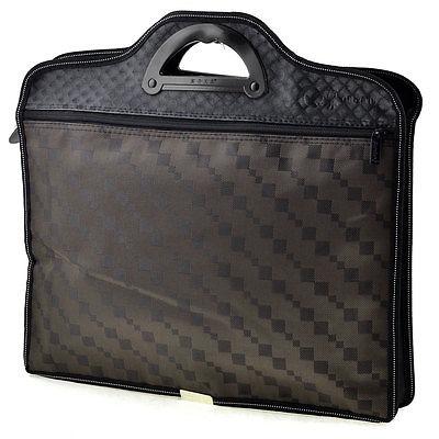 [해외]격자 무늬 패턴 2 섹션 지퍼가 달린 짙은 갈색 회의 파일 주머니/Textured Plaid Pattern 2 Sections Zippered Dark Brown Conference File Pocket Bag