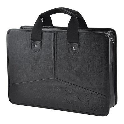 [해외]블랙 가짜 가죽 지퍼가 달린 사각형 회의 계약 펜 파일 가방 컨테이너/Black Faux Leather Zippered Rectangle Meeting Contract Pen File Bag Container
