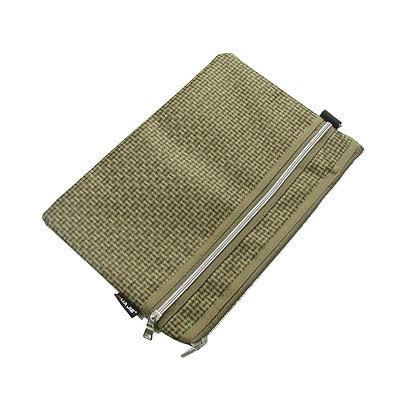 [해외]브라운 2 개의 지퍼 개폐 지주 파일 홀더/Brown Two Compartments Zipper Closure Carrying File Bag Holder