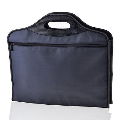 [해외]진한 파란색 지퍼 가짜 가죽 핸들 회의 파일 계약 가방 컨테이너/Dark Blue Zippered Faux Leather Handle Conference File Contract Bag Container